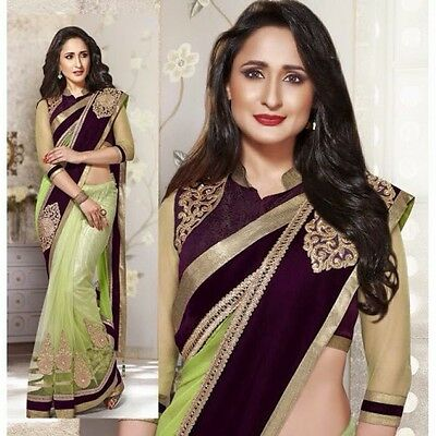 Indian Party Occasion Green Purple Ladies Velvet Border Embroidered Saree Sari