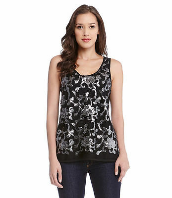 8eef44248d2336 New Karen Kane Black   Silver Sequin Front Floral Motif Tank Top Sizes S M  L XL