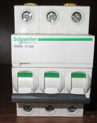 Used Schneider Electrical iC65N D 16A Air Circuit Breaker Switch 400v 6000 3 D16