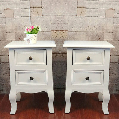 Storage Drawer White Pair Of 2 Unit Cabinet Bedside Shabby Chic Table Nightstand