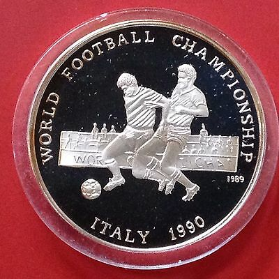 Afghanistan Silver Proof Coin 1990 Italy World Soccer