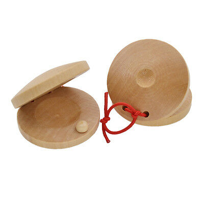 1 Pair Wooden Castanets Percussion Rhythm Musical Instrument Spanish Flamenco