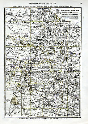 1918 Spring Drive Map--Map & Index---St. Quentin, Ludendorff, Somme----t52