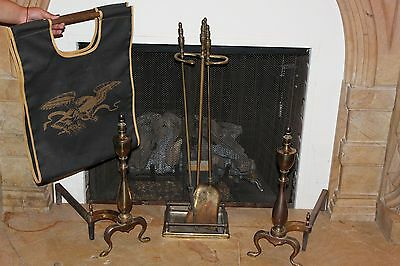 Set Of fireplace  Brass tools and  Fireplace Andirons
