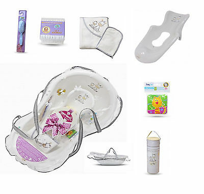 Baby Newborn Kit Bath Wash Tub Support Seat Brush Towel Bottle Holder Book