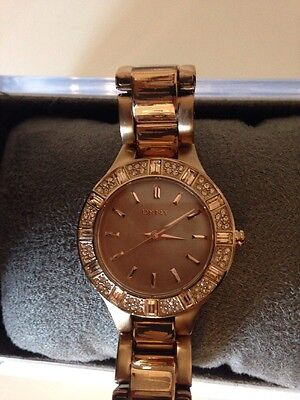 Ladies DKNY Rose Gold Bling Watch
