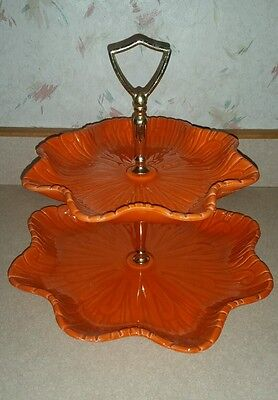 Ceramic Plate Stand Orange Fall Thanksgiving Decor Cookies Candy Tiered dish