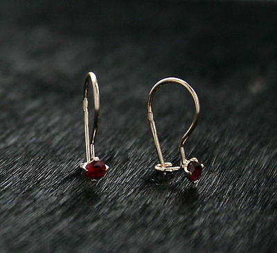 585 Russian Rose Gold 14ct Delicate 3mm Red Fianit Hook Earrings Gift Boxed