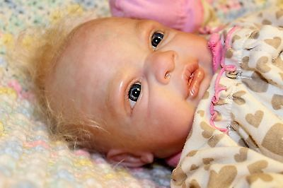 Reborn Baby Girl Frankie Vinyl Real Eyes Handpainted Weighted Rooted Cuddle Soft