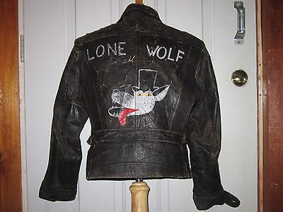 VTG 40s STEERHIDE LEATHER MOTORCYCLE OUTLAW ROCKABILLY JACKET PAINTED LONE WOLF