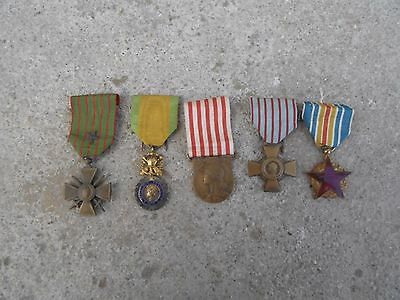 Original Ww1 French Medal Group 5 Medals 1914 1918