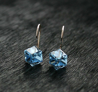 585/14ct Russian Rose Gold Swarovski Elements Cube Hook Earrings Gift Boxed