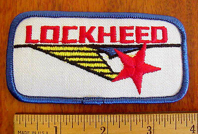 """LOCKHEED AIRCRAFT AVIATION LOGO 4"""" x 2"""" EMBROIDERED RED WHITE BLUE IRON-ON PATCH"""