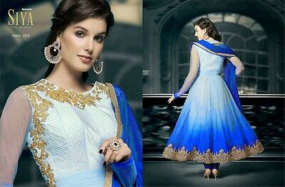 Indian Pakistani Embroidered Occasion Party Wear Ladies Long Anarkali Dress Blue