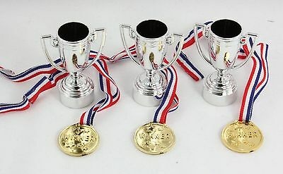 6 Pcs Party Prize Trophy Set Fun Novelty Games Sports Day Medals Ribbos Birthday