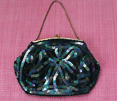 Vintage Black Satin Pouch / Bag w Iridescent Sequins & Beads - Made in France