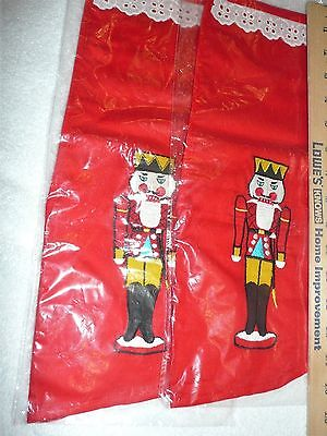 2 Cotton Christmas Stocking Embroidered Nutcrackers 16""