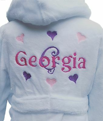 Girls personalised dressing gown 2-3 years upto 9-10y personalised hearts design