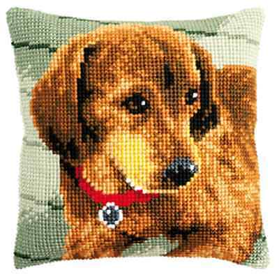 Dog with Balloon Large Holed Tapestry Cushion Kit//Printed Chunky Cross Stitch