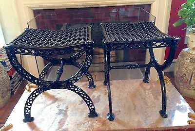 PAIR Neoclassical/Regency Style Cast Iron Curule Garden BENCHES / STOOLS / SEATS