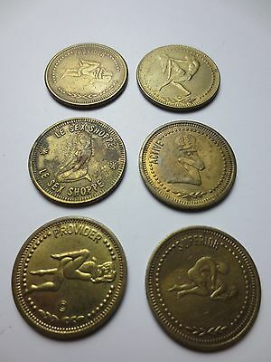 6 LE SEX SHOPPE LA'S FINEST IN ADULT NUDE Brass Coins Peep Show NOVELTY (PG656)