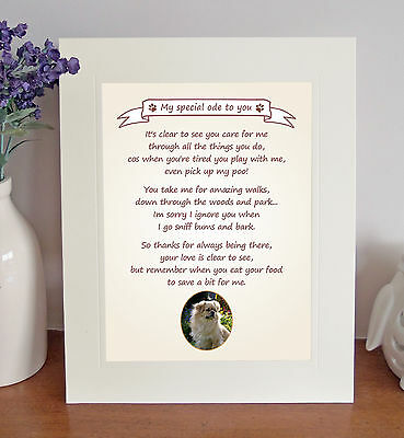 """Tibetan Spaniel 10"""" x 8"""" Free Standing Thank You Poem Novelty Gift FROM THE DOG"""