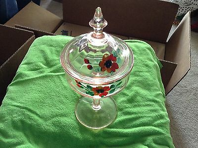 Handpainted covered glass compote dish