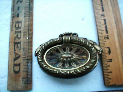 ANTIQUE BRASS DRAWER PULL OVAL WREATH SINGLE Item F  B & B BRIDGEPORT CT
