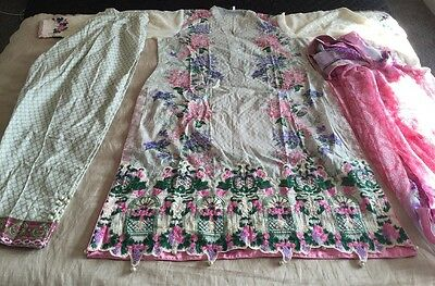 Pakistani Embrioded LAWN Suit COLLECTION STITCHED SHALWAR KAMEEZ SUIT Large-xl
