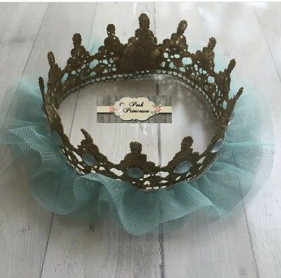 Gold and Aqua Teal TuTu Tulle Lace Princess Crown, Baby Photo Prop