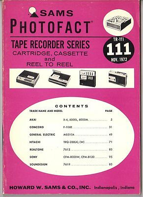 Sams Photofact-Tape Recorder Series/#TR-111/First Edition-First Print/1972