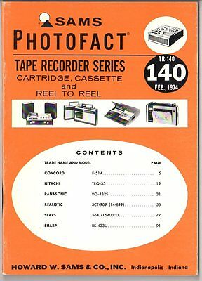 Sams Photofact-Tape Recorder Series/#TR-140/First Edition-First Print/1974