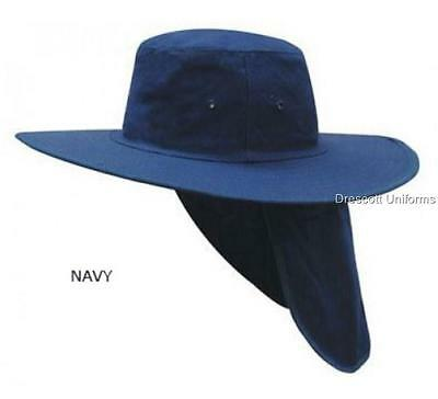 New CANVAS Cotton SUN HAT with FLAP BROAD BRIM - Natural Navy Bottle Green