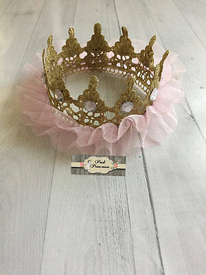 Pink & Gold TuTu Tulle Lace Princess Crown, Baby Photo Prop, Baby Shower Decor