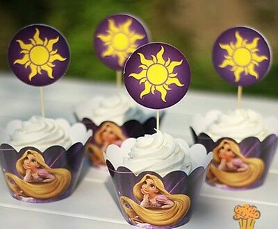 24Pcs Disney Tangled Cupcake Toppers & Wrappers / Rapunzel Birthday Party