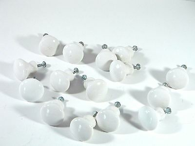 Vintage Porcelain Ceramic Hardware Furniture  Drawer PULL KNOBS White~Lot of 15
