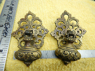 2-Keeler Brass Co. KBC #C545 Base & C572 Pull Knob Antique Brass Pulls
