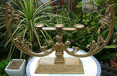 Very large, very heavy, ornate, antique cast iron candleabra for 3 candles