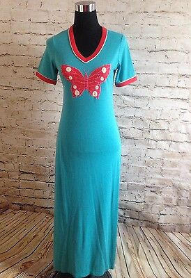70s Vtg Long Night Gown Lingerie Hippy Cotton Night Dress Size Small Mr.Robert