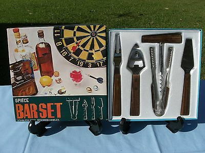 BAR SET 5 pieces Rosewood Handles on Stainless Steel - Collectable