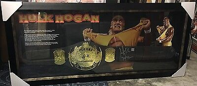 Hulk Hogan Signed And Framed Replica Toy Championship Belt + Photo Proof
