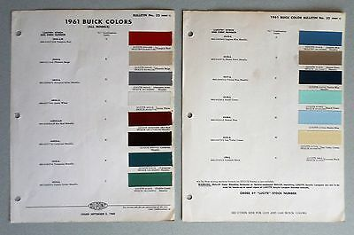 1961 BUICK PAINT CHIPS with 1959 & 1960 BUICK DUPONT COLOR LISTS