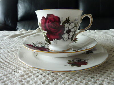 Queen Anne Ridgway 8429 Cup Saucer Plate Trio Red Rose Display Only Af Beautiful