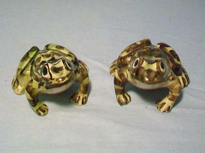 Two Vintage Brush McCoy Garden Frogs