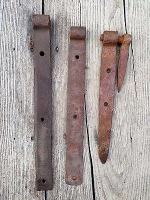 "3 Antique Hand Wrought Iron Forged Barn Door Strap Hinges Vintage 15"" 11"" 14"""