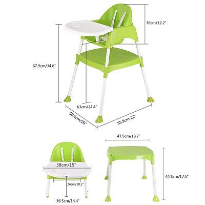 Baby 3 in 1 High Chair Convertible Table Seat Booster Toddler Feeding Highchair