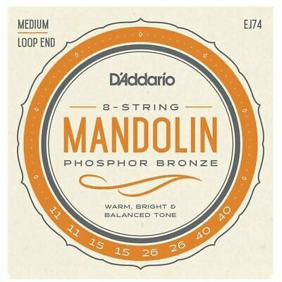 D'Addario EJ74 Phosphor Bronze Mandolin Strings,Set Medium, 11 - 40 Loop ends