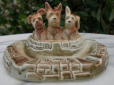 Wembley Ware 3 Scottie Dogs Ashtray Dish Ornament Collectable Vintage