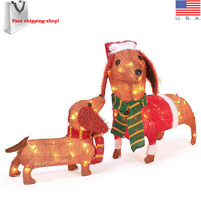 Christmas Dachshund Sausage Dog Set of 2 Light up Wiener Dogs Outdoor Decoration