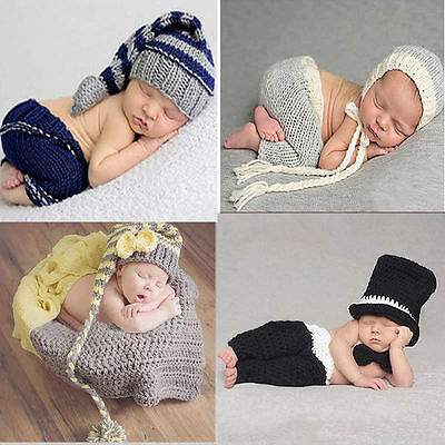 Newborn Baby Girls Boys Knit Crochet Hat Costume Photo Prop Photography Outfits